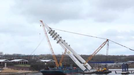 New Wear Crossing - Raising the Pylon Time-lapse