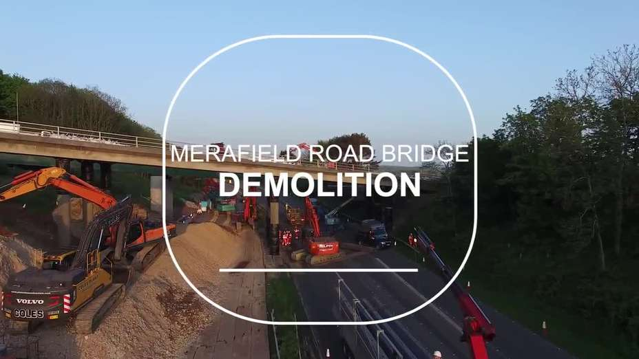 Merafield Road bridge demolition